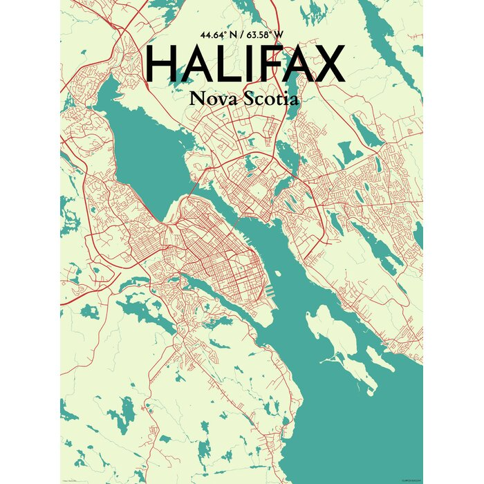OurPostercom Halifax City Map Graphic Art Print Poster in