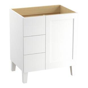 Poplin? 30 Vanity with Furniture Legs, 1 Door and 3 Drawers on Left