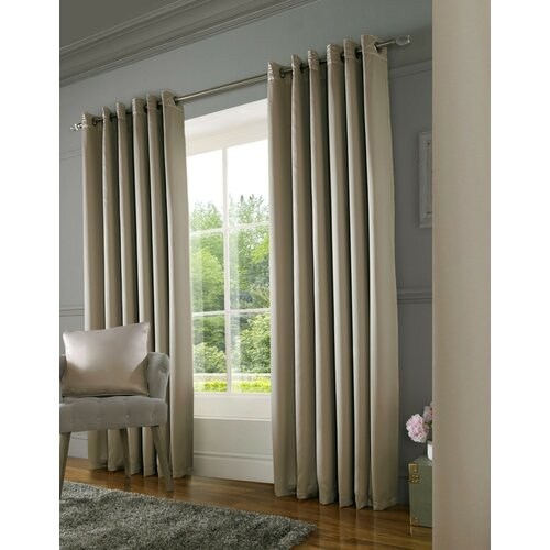 York Eyelet Room Darkening Thermal Curtains Rosdorf Park Colour: Mink, Panel Size: 167 W x 137 D cm
