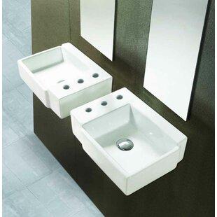 American Imaginations Ceramic Circular Bathroom Sink with Faucet