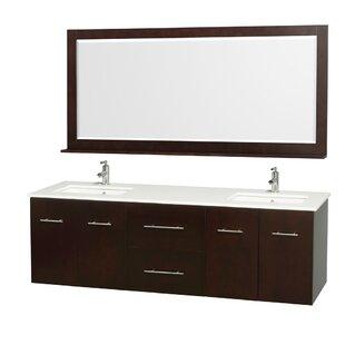 Centra 72 Double Espresso Bathroom Vanity Set with Mirror By Wyndham Collection