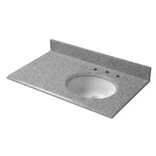 Granite 37 Single Bathroom Vanity Top with Right Offset Bowl by Cahaba