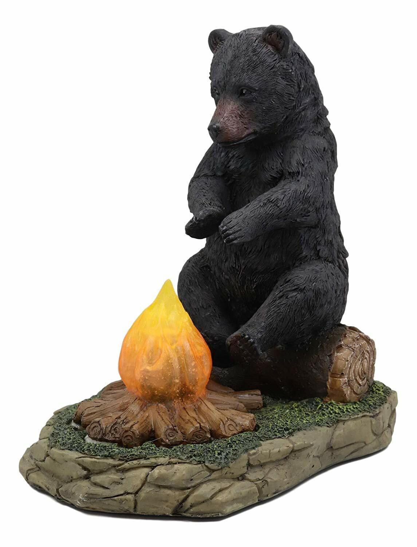Millwood Pines Kathrine Whimsical Rustic Forest Black Bear Warming Hands Figurine Wayfair