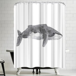Jetty Printables Fin Whale Painting Single Shower Curtain