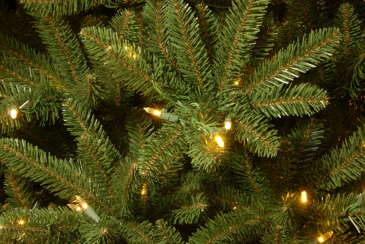 The Holiday Aisle 7.5\' Natural Fraser Slim Fir Hinged Tree with 600 ...