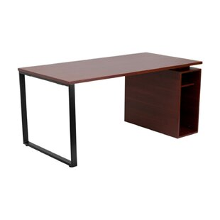 Cady Mahogany Computer Desk with Open Storage Pedestal
