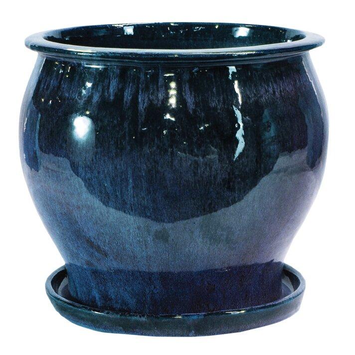 World Menagerie Newcomb Glazed Ceramic Pot Planter Reviews Wayfair