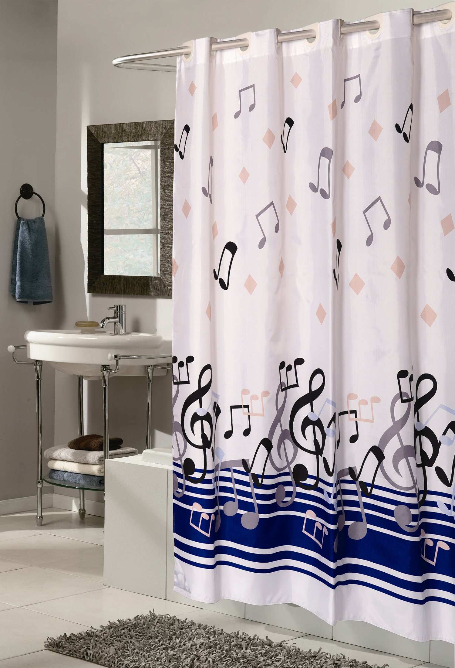Delane Music Note Single Shower Curtain