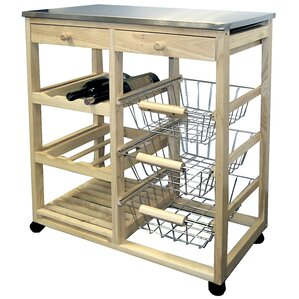 Kitchen Cart with Stainless Steel Top by ORE Furniture