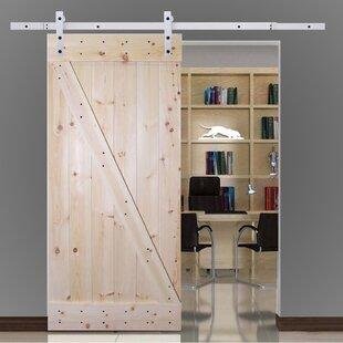 Solid Wood Panelled Knotty Pine Slab Interior Barn Door & Knotty Pine Kitchen Cabinets | Wayfair