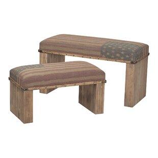 August Grove Stiltner 2 Piece Wooden Bench Set