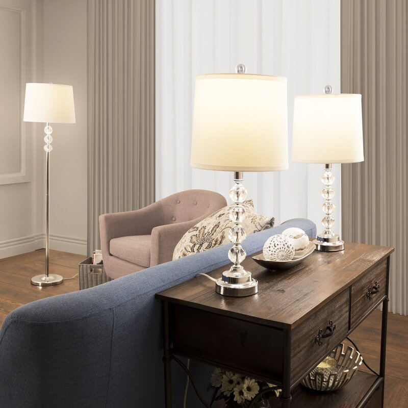 Faceted Crystal 3 Piece Table And Floor Lamp Set