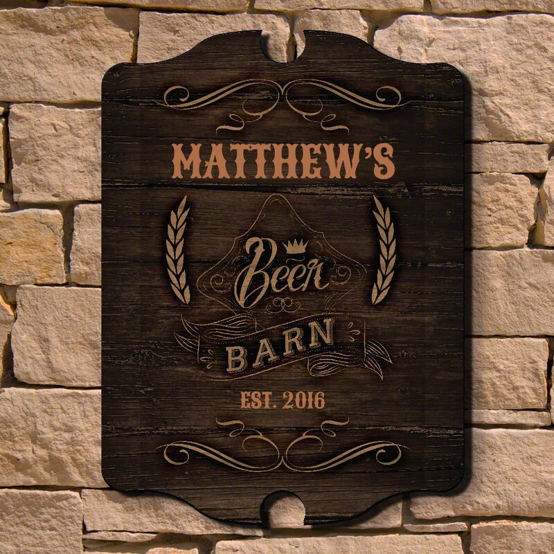 Beer Barn Personalized Wood Sign Wall Decor