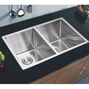 Wells Sinkware Ncu3319 10l New Chef S 33 X 19 Double Basin Undermount Kitchen Sink Wayfair
