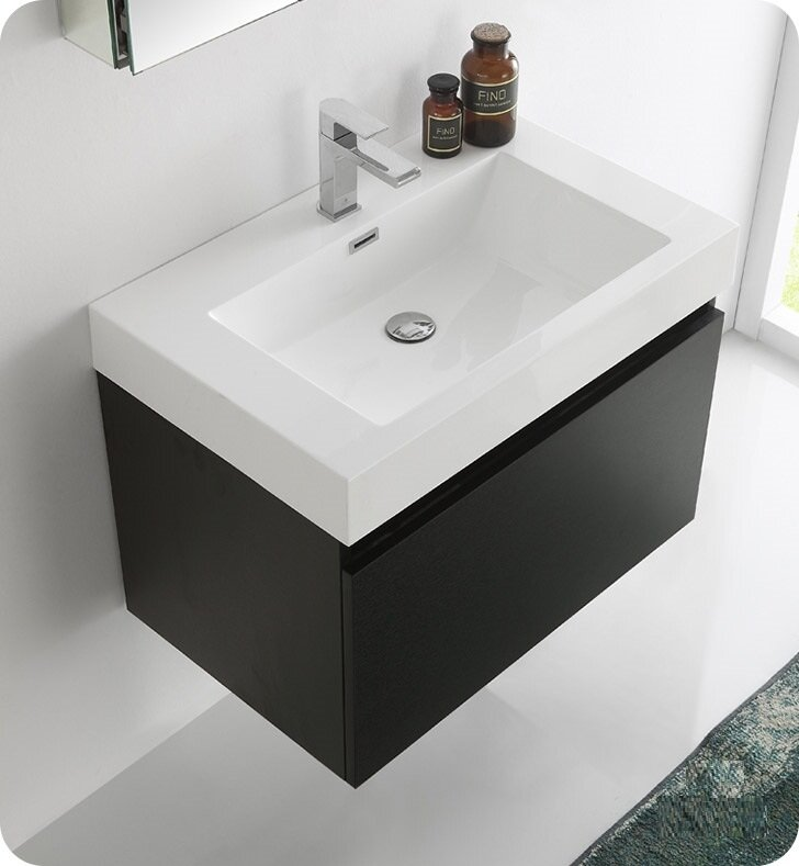 Fresca Senza Mezzo Single Wall Mounted Modern Bathroom Vanity - Bathroom vanity and medicine cabinet
