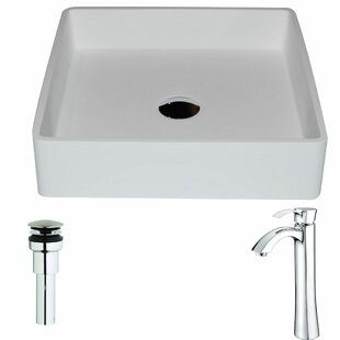 ANZZI Passage Stone Square Vessel Bathroom Sink with Faucet