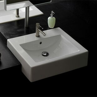 Affordable Ceramic 24 Wall Mount Bathroom Sink with Overflow By Scarabeo by Nameeks