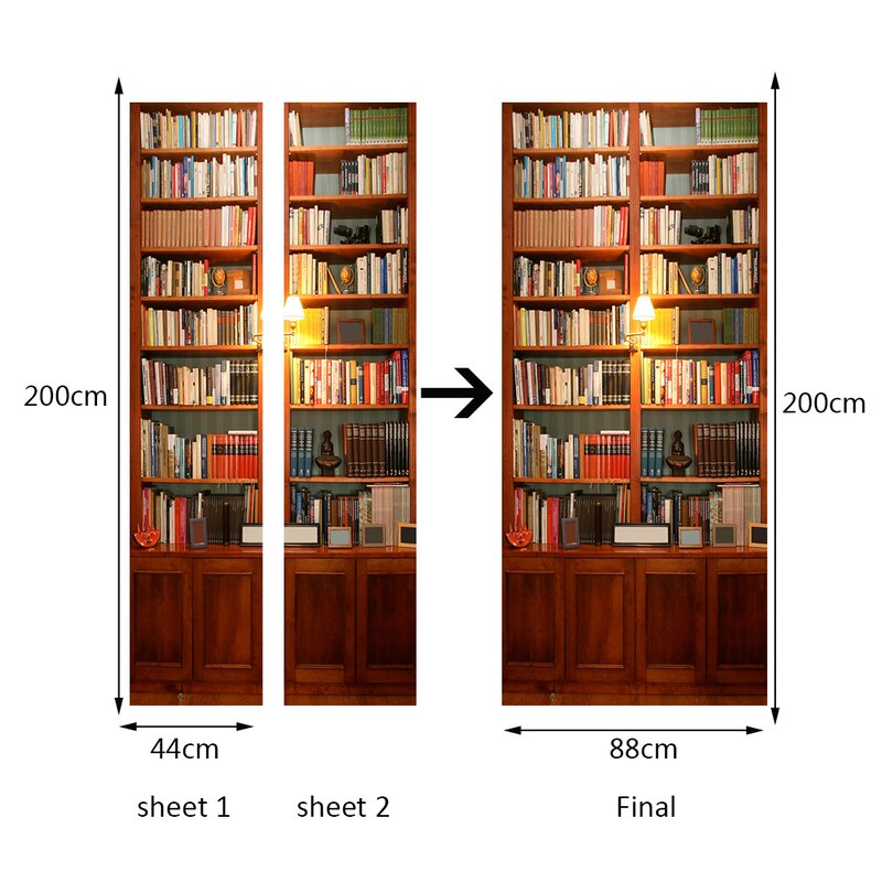 Vintage Bookcase Wall Decal