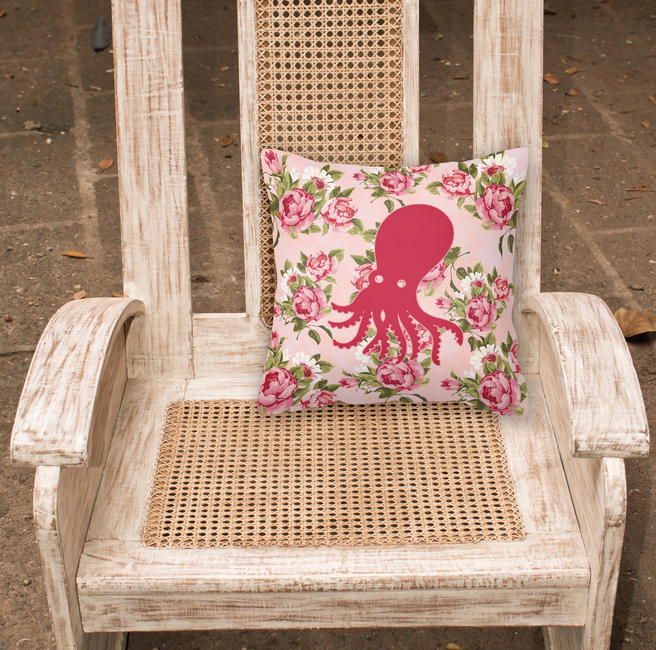 Winston Porter Mal Octopus Shabby Elegance Pink Roses Floral 14 Throw Pillow Wayfair