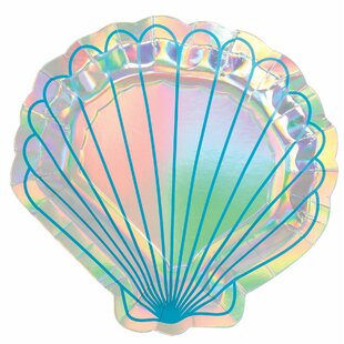 Mermaid Wishes Iridescent Shell Paper Disposable Dinner Plate (Set of 32)