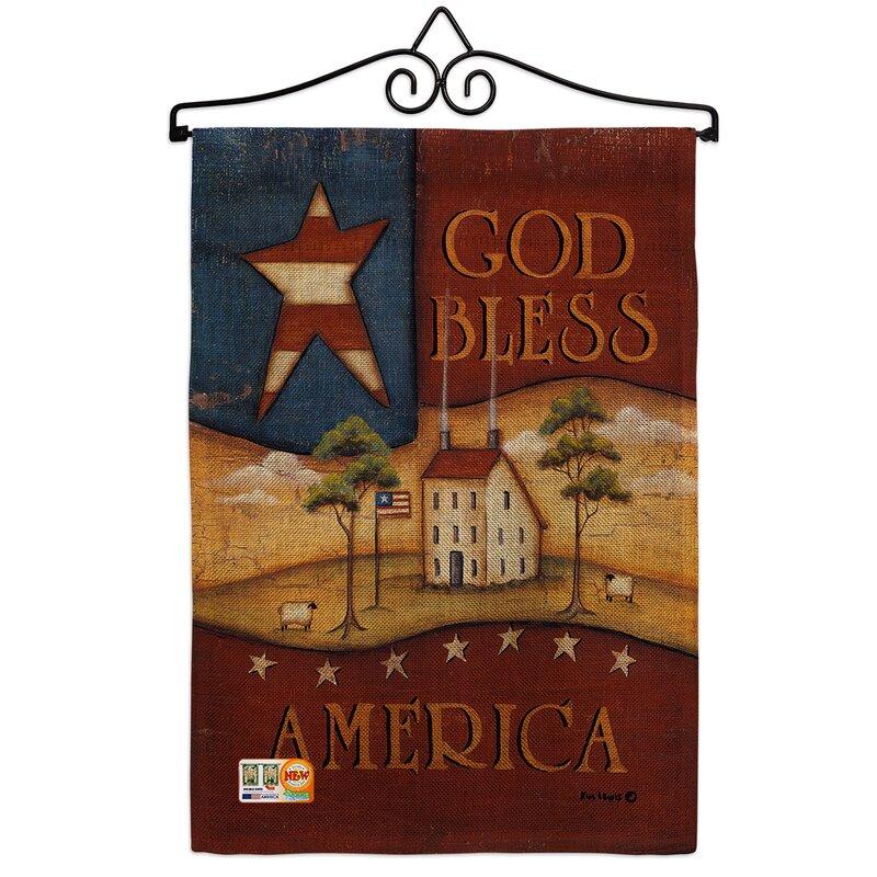 Breeze Decor God Bless America American Patriotic 2 Sided Burlap 19 X 13 In Garden Flag Wayfair