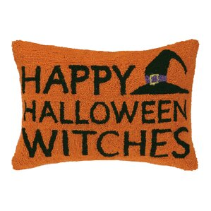 happy halloween witches wool lumbar pillow