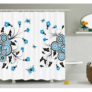 Cheri Landscape Nature Theme Flowers Circles and Leaves Flying Butterflies Print Single Shower Curtain