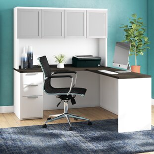 Kadian Contemporary Reversible L-Shape Corner Desk with Hutch
