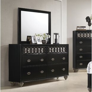 House of Hampton Nims 6 Drawer Double Dresser with Mirror