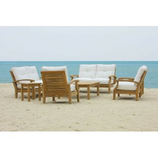 Lowery 6 Piece Teak Sofa Seating Group with Sunbrella Cushions