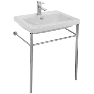 Trend Cangas Ceramic 24 Console Bathroom Sink with Overflow ByCeramica Tecla by Nameeks