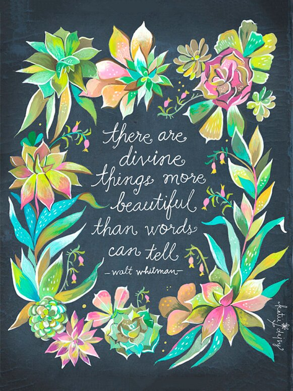 'Divine Things' quote by Walt Whitman and art by Katie Daisy. Happy LOVE Day, Lovelies! Poetry, handlettered art, and colorful Valentine's Day finds await on Hello Lovely Studio!