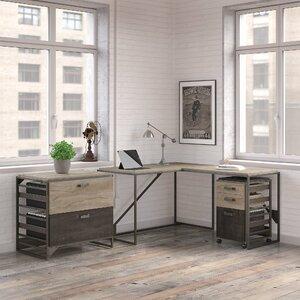 Riverside Industrial 3 Piece L-Shaped Desk Office Suite