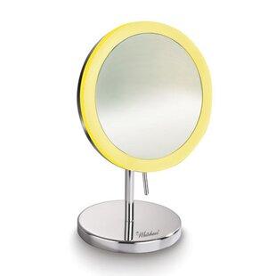 Symple Stuff Kenner Freestanding LED Round Makeup/Shaving Mirror