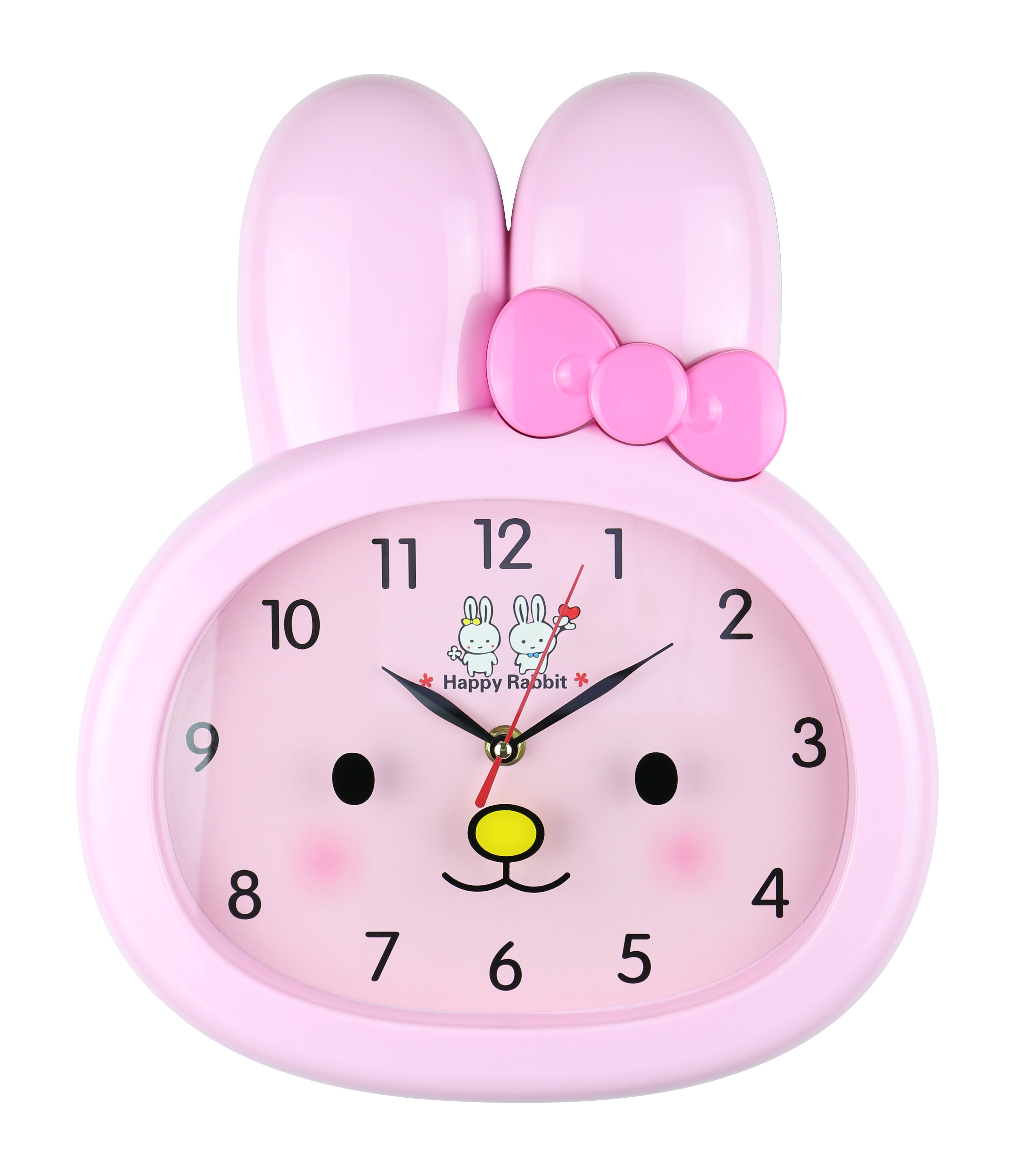 WOODEN MINNIE MOUSE SHAPED KIDS HOME BATTERY OPERATED CLOCK PINK