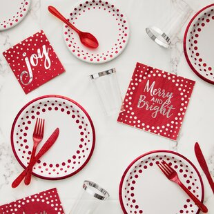 Holiday Sparkle and Shine Paper and Plastic Tableware Kit