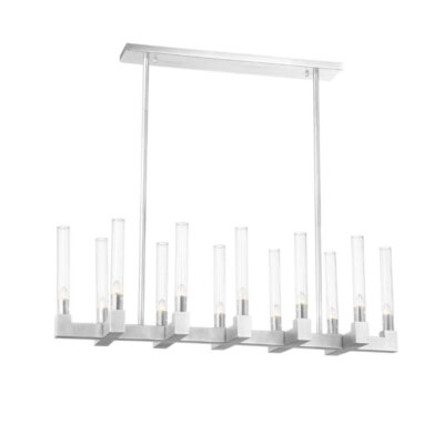 Rylie 12 Light Kitchen Island Linear Pendant Everly Quinn Finish Nickel Shefinds