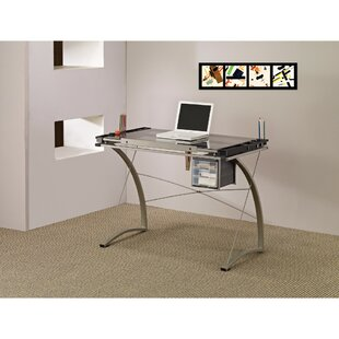 Bratches Sophisticated Metal Drafting Desk with Tempered Glass Top