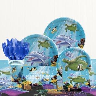 81 Piece Ocean Party Birthday Paper/Plastic Tableware Set