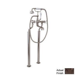 Perrin and Rowe Triple Handle Floor Mount Tub Filler Faucet with Hand Shower, Floor Legs, and Cross Handle By Rohl