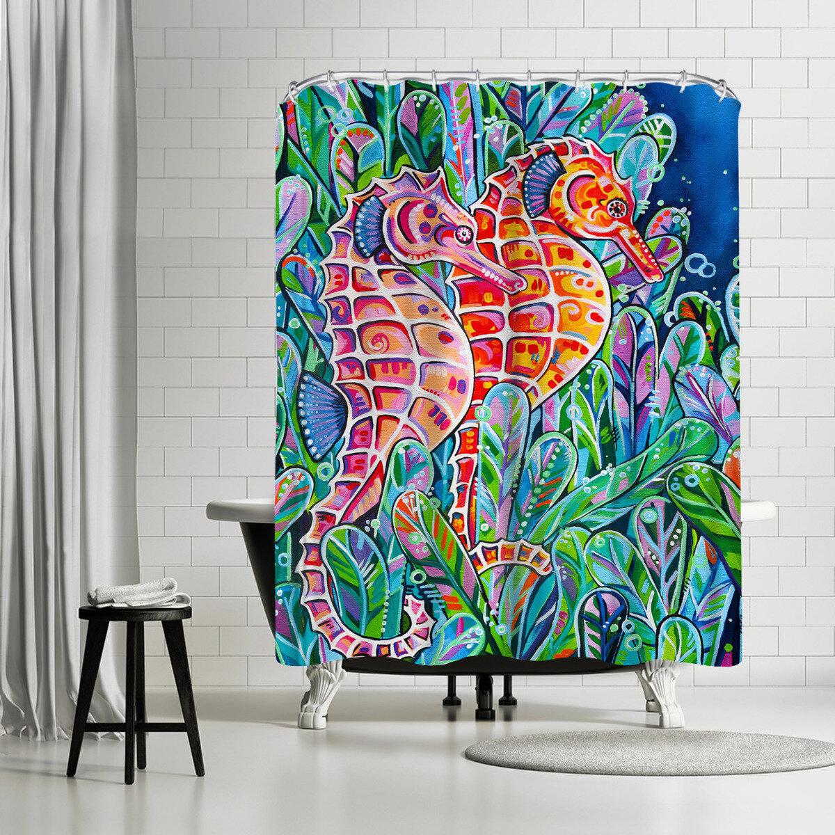 East Urban Home Eve Izzett Seahorses Single Shower Curtain Wayfair