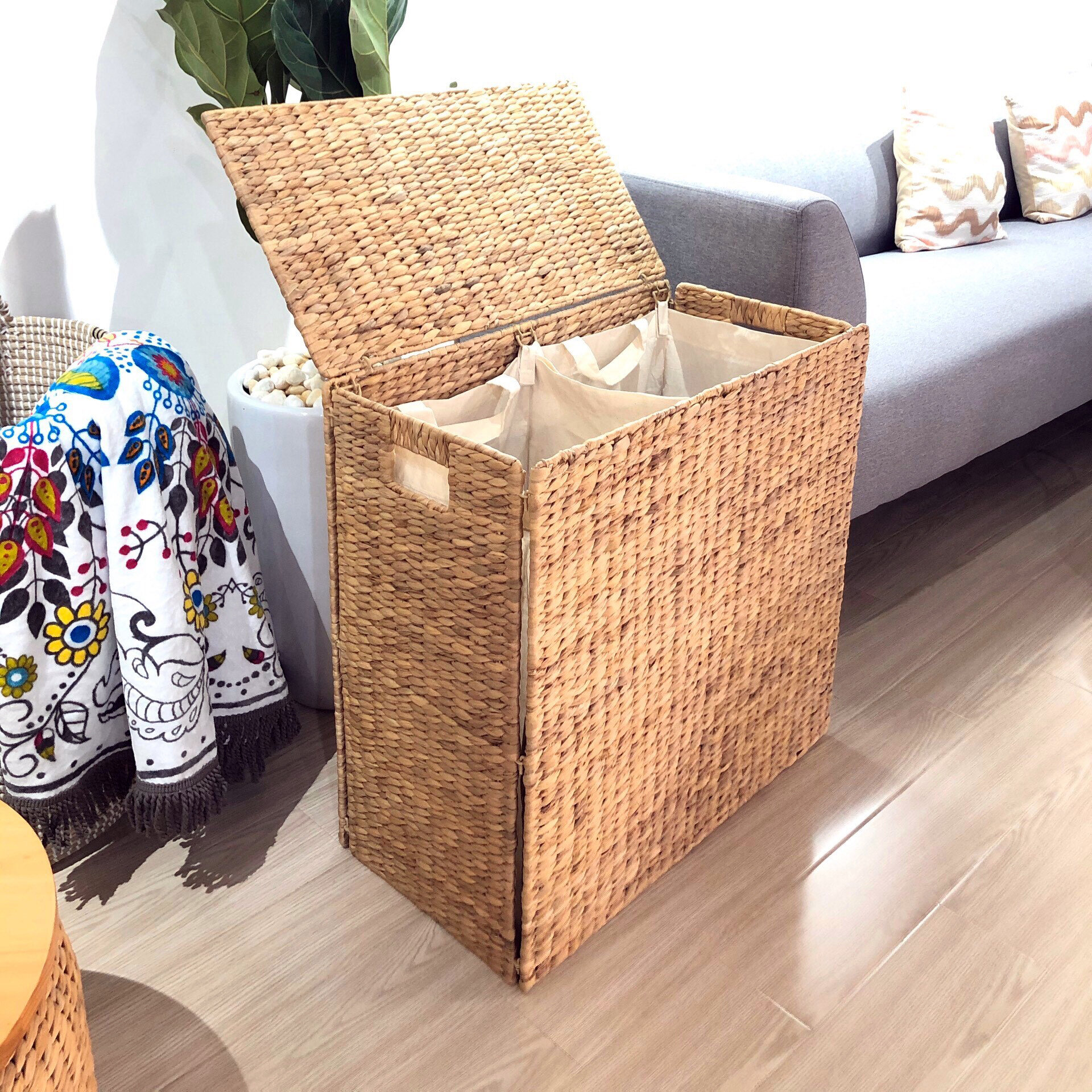 Bayou Breeze Wicker Double Sided Laundry Clothes Hamper Basket Seagrass With Lid Wayfair