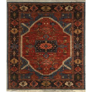 Serapi Hand-Knotted Rust/Navy Blue Area Rug