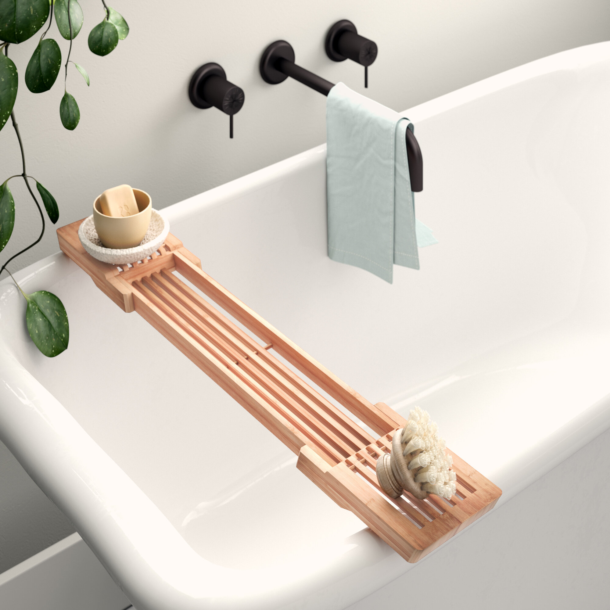 Extendable Bath Caddy with Wine Glass Holder and Tablet Book Stand Bathroom Spa Accessories Premium Wooden Bathtub Tray Rack