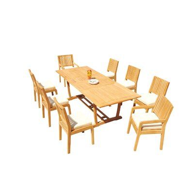 Maskell 9 Piece Teak Dining Set by Rosecliff Heights Best Choices
