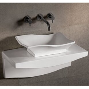 Whitehaus Collection Isabella Rectangular Vessel Bathroom Sink with Overflow