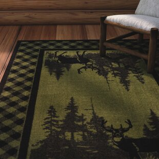 Cabarita Whitetail Plaid Green Area Rug by Loon Peak