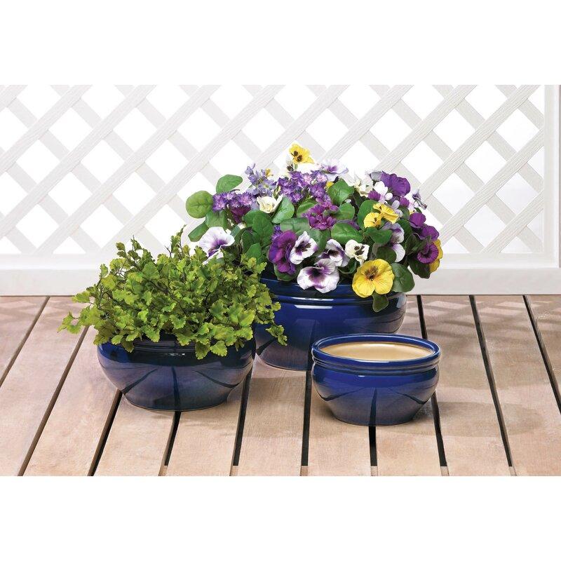 World Menagerie Trentelman 3 Piece Ceramic Pot Planter Set Reviews Wayfair