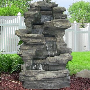Millwood Pines Joey Resin Stacked Shale Fountain with Lights