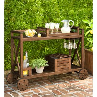 Claremont Eucalyptus Rolling Outdoor Bar Cart by Plow & Hearth